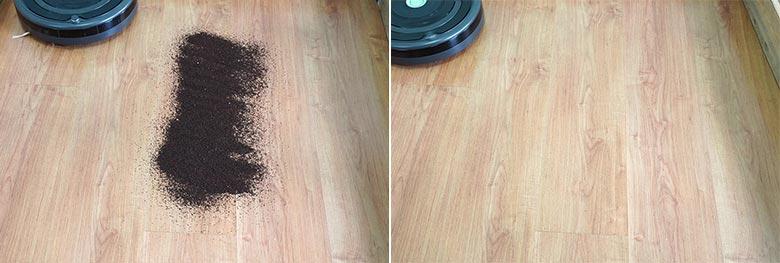 Roomba 675 cleaning coffee on hard floor