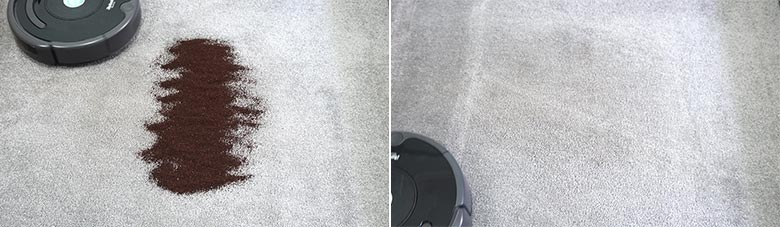 Roomba 675 cleaning coffee on low pile