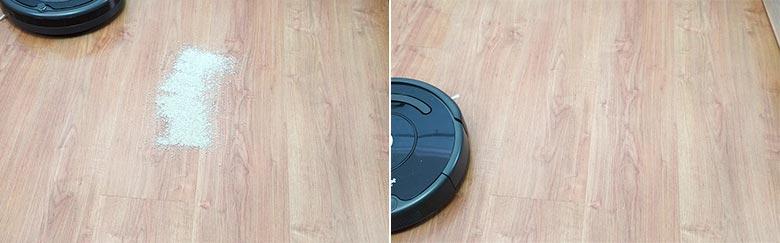 Roomba 675 cleaning pet litter on hard floor