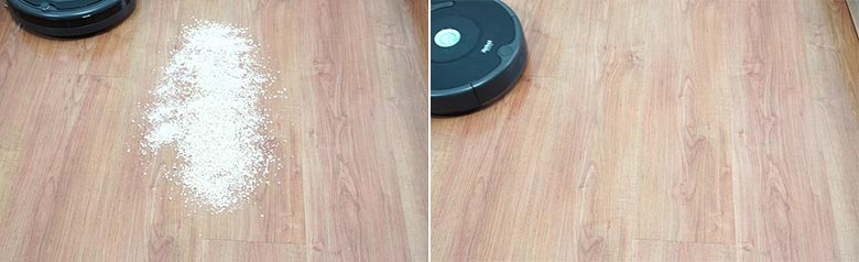 Roomba 675 cleaning quaker oats on hard floor