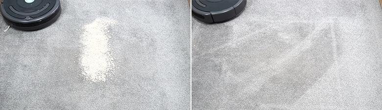 Roomba 675 quaker oats on low pile carpet