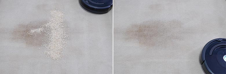 Roomba 675 cleaning quaker oats on mid pile carpet
