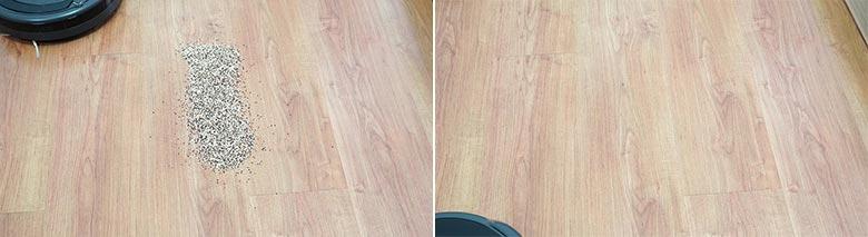 Roomba 675 cleaning quinoa on hard floor