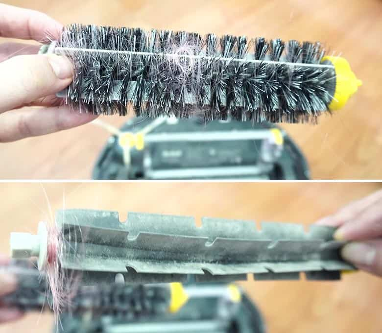 Roomba 690 hair wrapped on the brushes