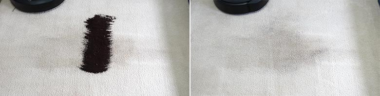 Roomba E5 cleaning coffee grounds on mid pile carpet