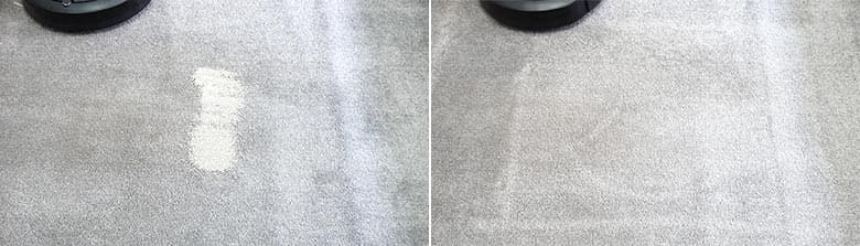 Roomba E5 cleaning pet litter on low pile carpet