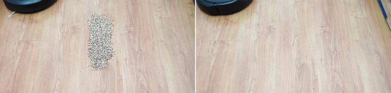 Roomba E5 cleaning quinoa on hard floors