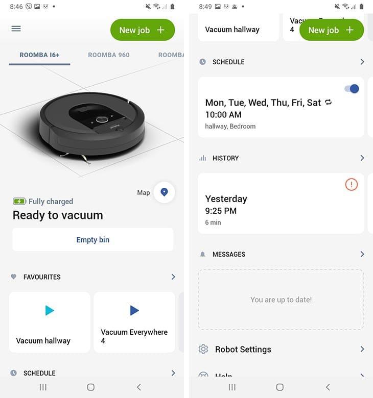 Roomba I6 app interface