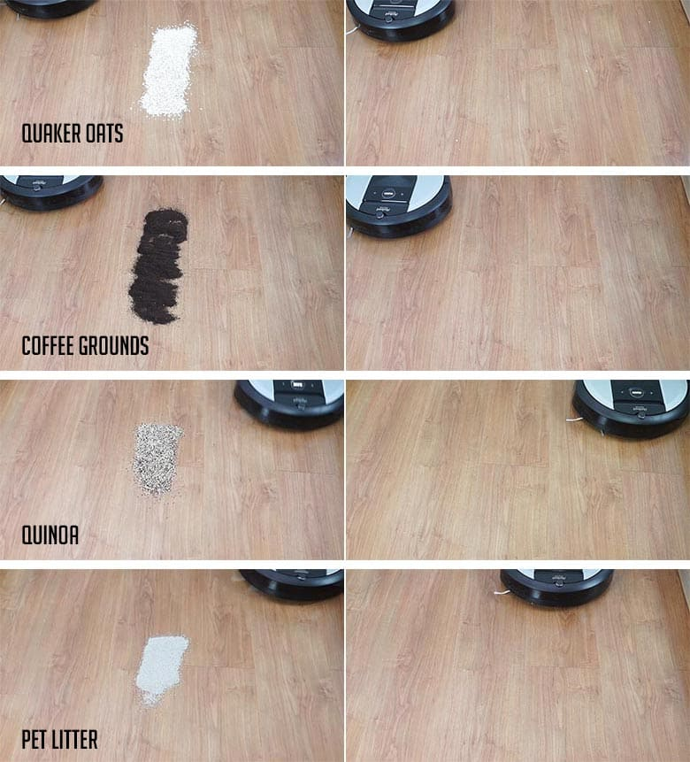 Roomba I6 hard floor cleaning results