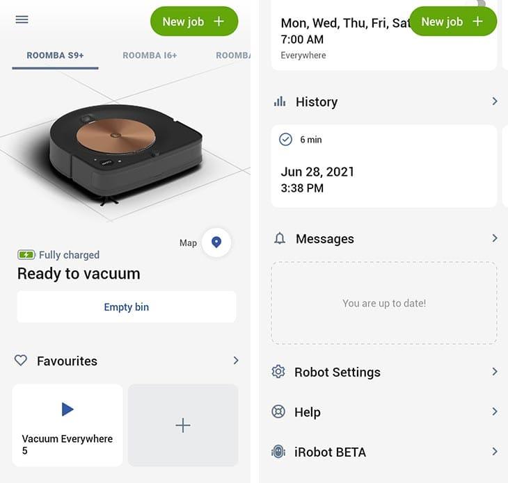 Roomba S9 app interface