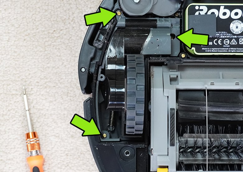 There are 3 bolts holding each Roomba side wheel