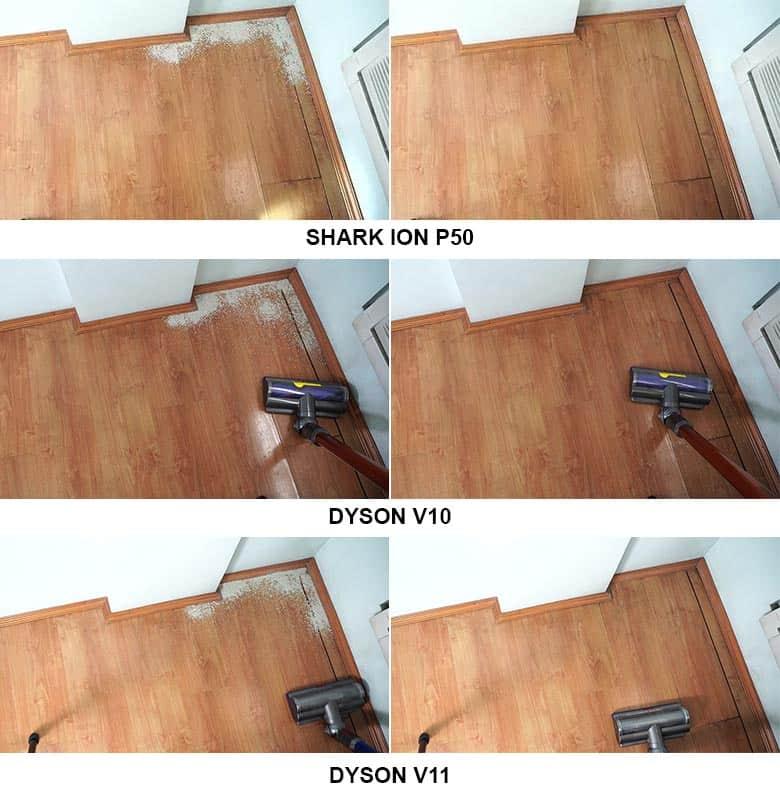 Shark ION P50 vs Dyson V10 vs V11 edge cleaning comparison