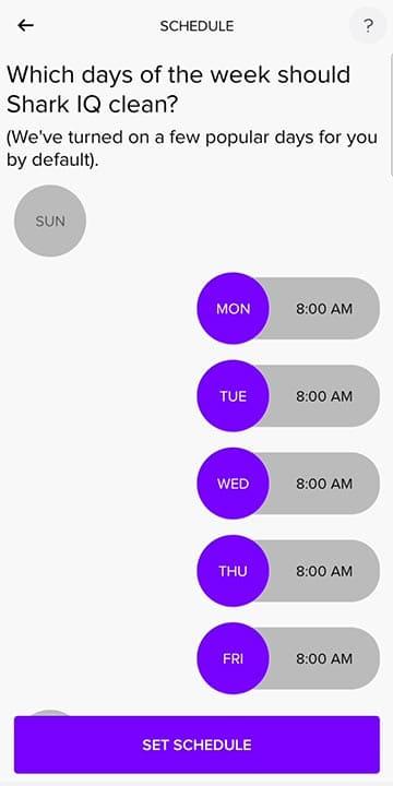 SharkClean app scheduling