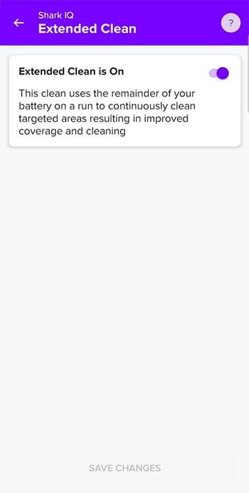Shark IQ app extended clean
