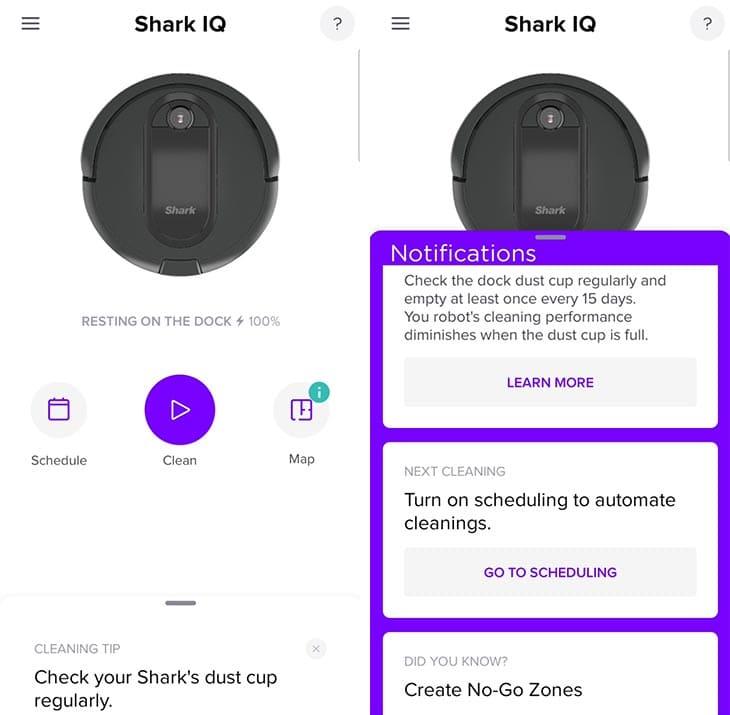 SharkClean app interface