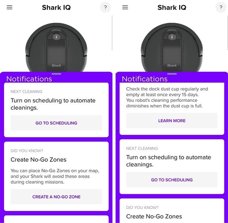 Shark IQ app notifications