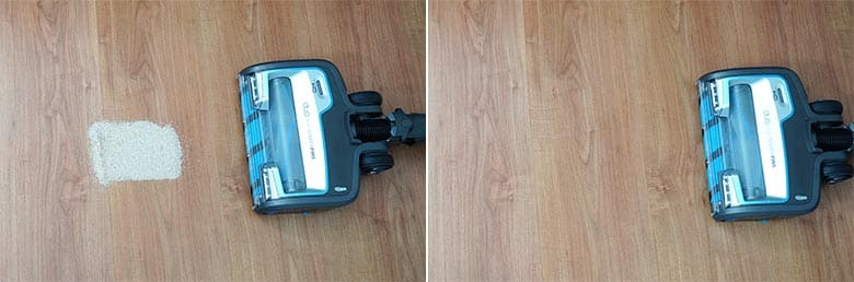 Shark Vertex cordless sand on hard floor test
