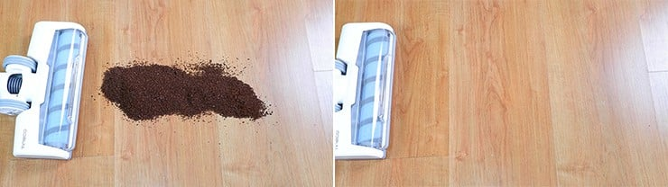 Tineco A10 cleaning coffee grounds on hard floors