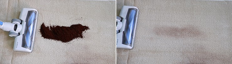 Tineco A10 cleaning coffee grounds on mid pile carpet