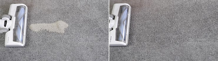 Tineco A10 cleaning pet litter on low pile carpet