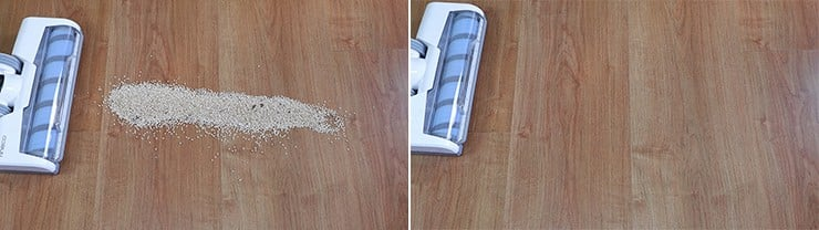 Tineco A10 cleaning quinoa on hard floors