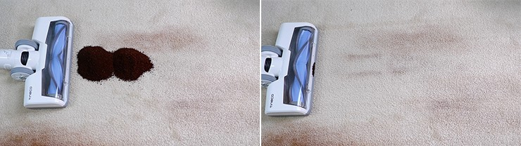 Tineco A11 cleaning coffee on mid pile carpet