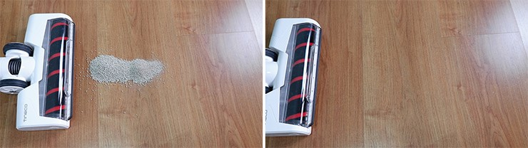 Tineco Pure One S12 cleaning pet litter on hard floors