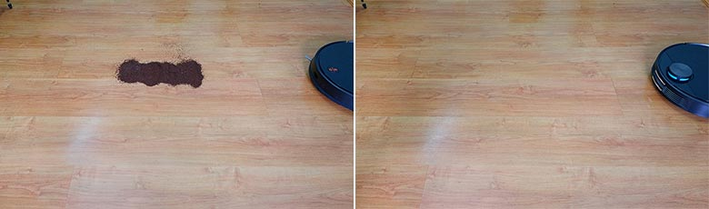Viomi V3 cleaning coffee on hard floors