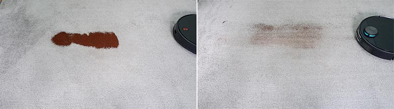Viomi V3 cleaning coffee on low pile carpet