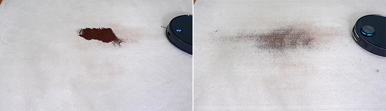 Viomi V3 cleaning coffee on mid pile carpet