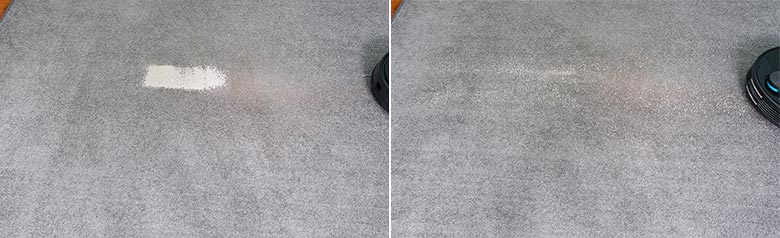 Viomi V3 cleaning pet litter on low pile carpets