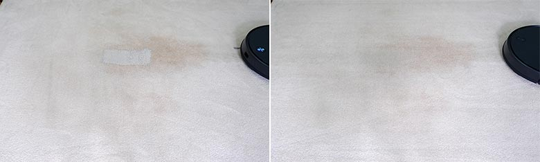 Viomi V3 cleaning pet litter on mid pile carpets