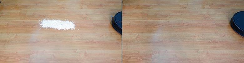 Viomi V3 cleaning quaker oats on hard floors