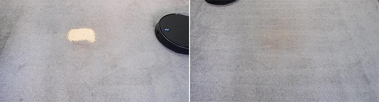 Viomi V3 cleaning quinoa on low pile carpets