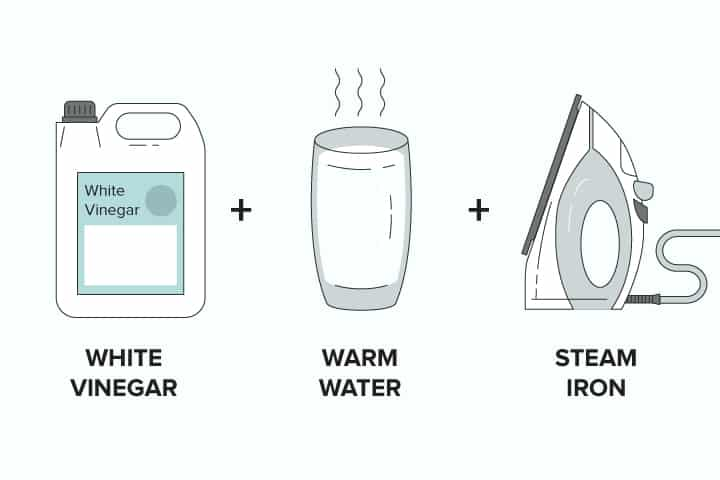White vinegar + water + steam iron