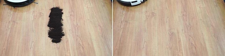 Yeedi K650 cleaning coffee grounds on hard floor