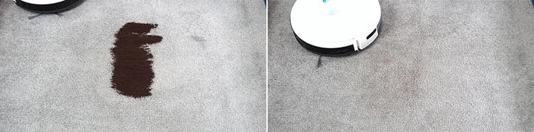 Yeedi K650 cleaning coffee grounds on low pile carpet