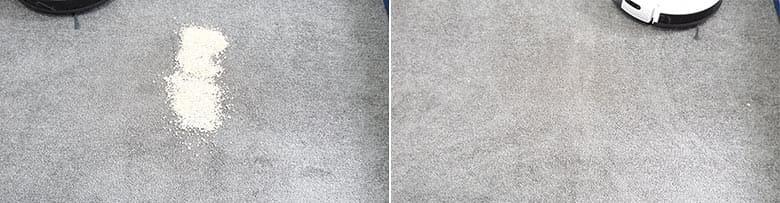 Yeedi K650 cleaning quaker oats on low pile carpet
