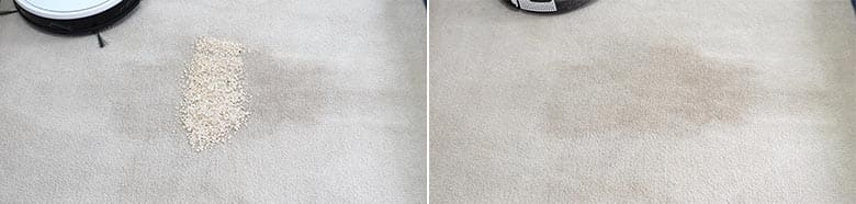 Yeedi K650 cleaning quaker oats on mid pile carpet