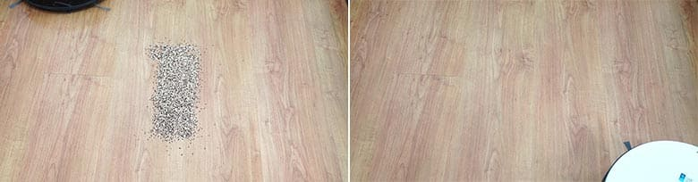 Yeedi K650 cleaning quinoa on hard floor