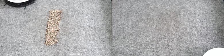 Yeedi K650 cleaning quinoa on low pile carpet