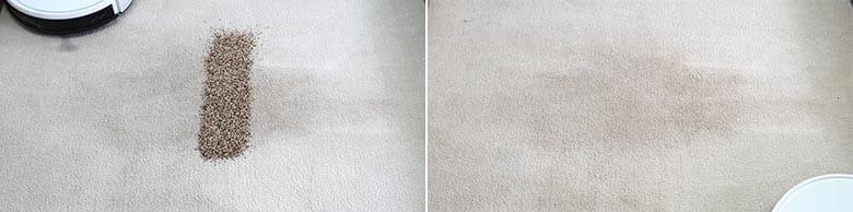 Yeedi K650 cleaning quinoa on mid pile carpet