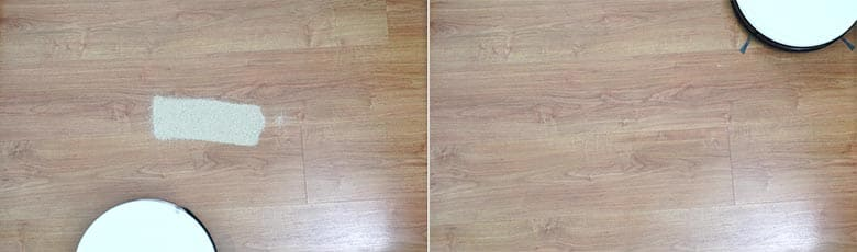 Yeedi K650 sand on hard floor test