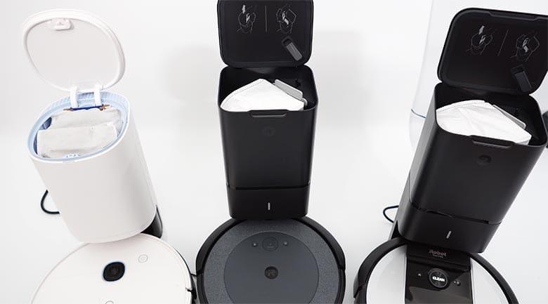 Yeedi Vac Station vs Roomba I3 vs Roomba I6 base station open