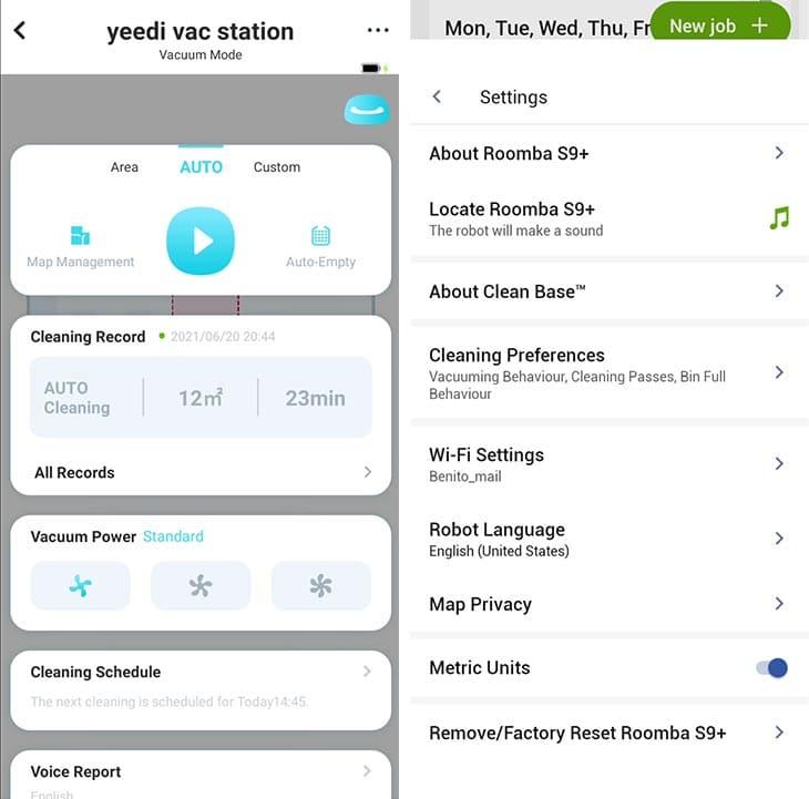 Yeedi vs Roomba app settings